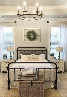 39 Rustic Farmhouse Bedroom Design and Decor Ideas To Transform Your Bedroom - The Trending House Rustic Bedroom Design, Farmhouse Master Bedroom, Home Bedroom, Modern Bedroom, Bedroom Designs, Contemporary Bedroom, Bedroom Country, Rustic Design, Farmhouse Bedroom Furniture Sets