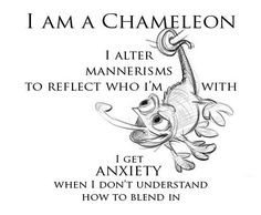behavioural chameleon - ENFJ - yet another reason why being with people tire me out. I don't change my beliefs or who I am but will become more loud or shy... The worst is when I can't figure out how the other person ticks. Then I withdraw.