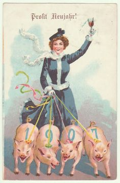 Happy New Year: Litho Postcard Lady with Pigs.