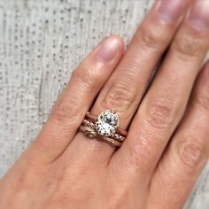 Oval Moissanite Rose Gold Twig Engagement Ring + Wedding Bands, by Kristin Coffin Jewelry. www.kristincoffin.com
