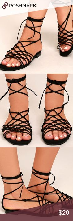 ⭐️Host Pick✨ Lulu's Flat Lace Up Sandals Info in images. Brand new, never worn and comes in original box. Lulu's Shoes Sandals