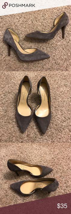 "Jessica Simpson half d'orsay pump Grey velvet, half d'orsay 3.5"" pump Jessica Simpson Shoes Heels"