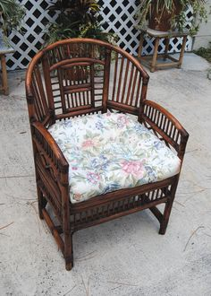 Vintage Brighton Style Rattan Bamboo Chair, Asian Chinoiserie Palm Beach Hollywood Regency on Etsy, $160.00