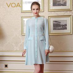 >> Click to Buy << VOA Brand Silk Women Blouses Long Shirt Long Sleeve 2017 New Stylish Fashion Stand Plus Size Women Clothing B7711 #Affiliate