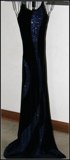 BEAUTIFUL! Onyx Nite Blue Velvet Sequin Event Dress Size Medium 90Poly10Spandex #OnyxNite #Sexy #Formal