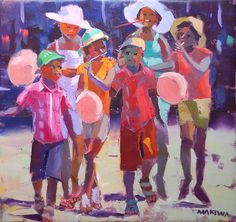 based In South Africa) African Children, South African Artists, Black Image, African American Art, Black Artists, Art File, Beautiful Artwork, Figure Painting, Love Art