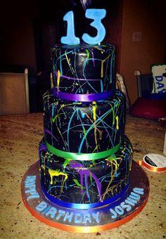 Neon paint splash - splatter birthday cake