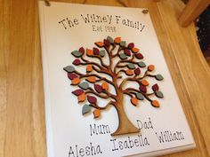 Large family tree, personalised wooden sign, autumn theme, family name, mothers day gift, wall hanging, home decor by AceSentimentalGifts on Etsy https://www.etsy.com/uk/listing/505130009/large-family-tree-personalised-wooden