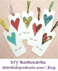 DIY Bookmarks! These bookmarks are as fun to make as they are to use. I like to keep a stack on hand for anyone who needs one. You can also tie a small stack with a ribbon for a thoughtful, homemade gift.   StarKidsProducts.com
