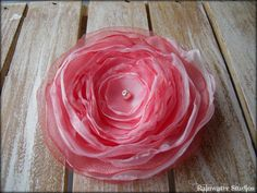 Wedding Hair Flower   Pink And Melon Organza  RainwaterStudios  $20.00