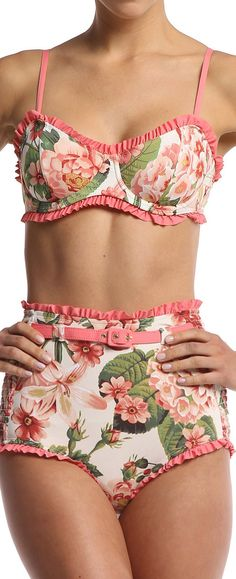 Floral Ruffled High Waisted Bikini