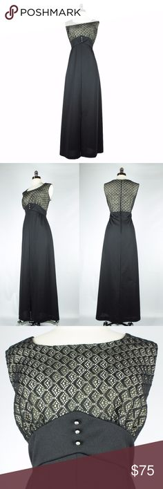 "Vintage Late 60s Black Empire Waist Maxi Dress XL Dramatic late 1960s black double knit polyester formal maxi dress with layered openwork bodice and rhinestone button detail.15"" open kick pleat in the front with a slight flare to the skirt. Best fit for modern XL. Please check measurements.  Bust: 42"" Waist: 34"" Hips: Up to 44"" Length: 57""  Condition: Excellent. There is a tiny unnoticeable repair in the skirt front on the hip. Too small to photograph. Skirt could very easily be hemmed up to…"