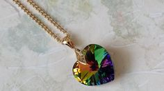 Vitrail Crystal Heart Necklace Gift for by ArtistInJewelry on Etsy