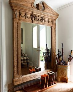 I love the oversized mirror in the entryway of Andrew Cuomo and Sandra Lee's Westchester Home  via @ELLE DECOR