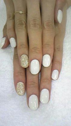 Gold glitter and white