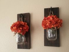 Set of Mason Jar Wall Sconces Mason Jar by CountryHomeandHeart