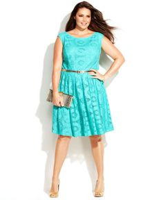 London Times Plus Size Cap-Sleeve Belted Lace Dress - Plus Size Dresses - Plus Sizes - Macy's