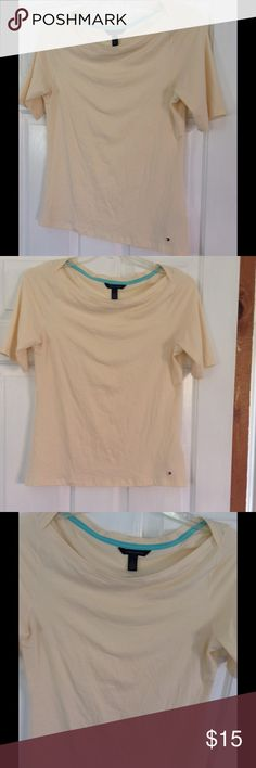 Tommy Hilfiger Banana Cream Top Elegant neckline makes this the best casual and classic mix Tommy Hilfiger Tops