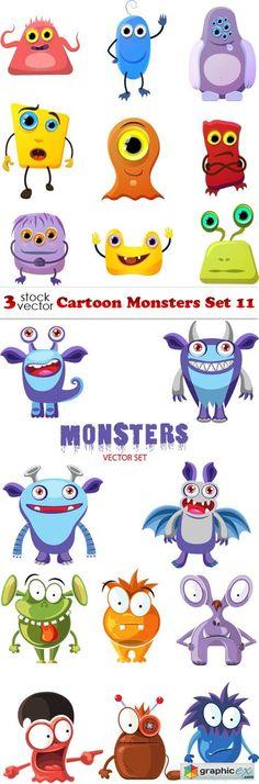 Cartoon Monsters Set 11