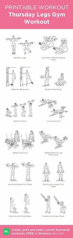Belly fat workout - Thursday Legs Gym Workout my visual workout created at WorkoutLabs com Fitness Workouts, Fitness Motivation, Sport Fitness, At Home Workouts, Fitness Shirts, Butt Workouts, Leg Exercises Gym, Planet Fitness Workout, Lose Fat Fast