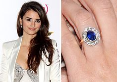 Penelope Cruz always looks glamorous on the Red Carpet, so it's no surprise that her 2012 Oscars jewelry was simply stunning. But what we loved best about Penelope's Oscars look was by far her vintage sapphire engagement ring. The ring features a halo of sleek diamonds surrounding a gorgeous, velvety blue 3 carat sapphire, all in a floral-inspired antique setting.