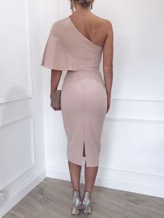 Solid One Shoulder Cape Bodycon Dress by RosyProm on Zibbet Elegant Dresses For Women, Pretty Dresses, Sexy Dresses, Evening Dresses, Short Dresses, Fashion Dresses, Dresses For Work, Dresses With Sleeves, Casual Dresses