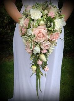 Brides wedding flowers Teardrop bouquet in soft by FlowersbySara, £85.00 by madelinem