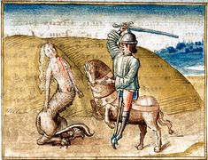 Oedipus encountering Sphinx. MS G.23 fol. 8r, Detail of miniature. Piermont Morgan Library | Flickr - Photo Sharing!