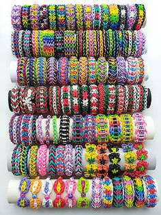 Pick 5 Rainbow Loom Bracelets out of 92 different Bracelets in Crafts, Kids' Crafts, Other Kids' Crafts Loom Band Patterns, Rainbow Loom Patterns, Rainbow Loom Creations, Rainbow Loom Bands, Rainbow Loom Charms, Rainbow Loom Bracelets, Colorful Bracelets, Stitch Patterns, Loom Band Bracelets