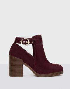 Pull&Bear - donna - scarpe - vedi tutto - stivaletto tacco decorazione traforata - bordeaux - 11140211-V2017