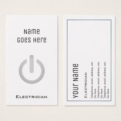 """""""Essential"""" Electrician Business Cards #electrician #sparky #businesscards"""