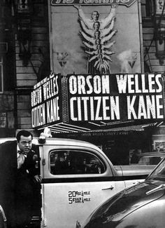 """Orson Welles arrives at the premiere of his """"Citizen Kane"""" at New York's Palace Theater (1941, photo by Peter Stackpole) On creating popular art: """"Nothing has ever been too good for the public. Nothing has ever been good enough for the public.""""-Orson Welles, 1942."""