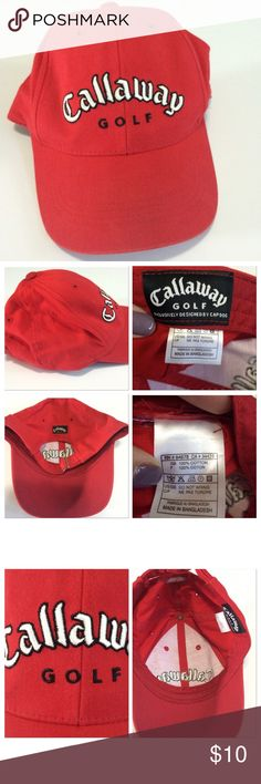 Calloway golf baseball cap Calloway golf baseball cap in red. Has a mark on the back where you can adjust and at the top; shown in last two pics Accessories Hats
