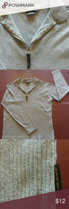 """GRAY ribbed """"Camel collection"""" shirt Poly/cotton ribbed camel shirt. Collar and zipper style. Camel Collection Shirts"""