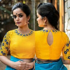 Are you looking for latest boat neck blouse designs 2020 model for front & back neck? Read More to view boat neck blouse designs catalogue. Blouse Back Neck Designs, Simple Blouse Designs, Stylish Blouse Design, Fancy Blouse Designs, Dress Designs, Kurta Designs, Kerala Saree Blouse Designs, Sari Blouse, Indian Blouse Designs