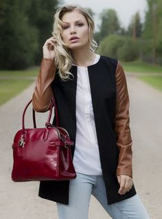 Cotton outer shell with vegan leather sleeves. Fall 2015, My Mom, Vegan Leather, London, Boutique, Clothes For Women, My Style, Sleeves, Jackets