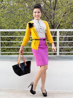 Pretty pop of colors  Mustard & violet. (That belt should be higher...) I love the shoulder pin!