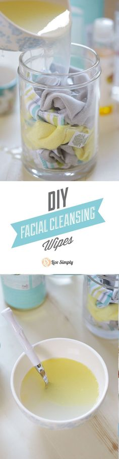 Natural & DIY Skin Care : Homemade RESUABLE Facial Cleansing Wipes. These wipes are easy to make and super