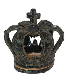 Look at this #zulilyfind! Three Hands Corporation Black Small Royal Crown Candle Holder by  #zulilyfinds