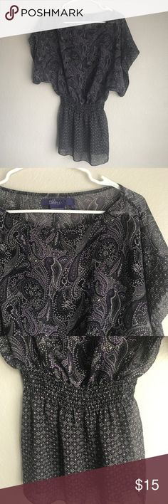 Miley Cyrus & Max Azria Purple Paisley Tunic Paisley Patterned Tunic by Miley Cyrus & Max Azria 100% polyester. Elastic waistband. In great condition. Miley Cyrus & Max Azria Tops Tunics