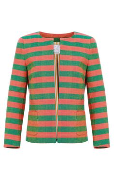 Shop M'O Exclusive: Salice Striped Canvas Jacket by Stella Jean Now Available on Moda Operandi
