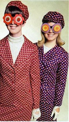 1960's- Mod fashion, psychedelic glasses, and oh, those cut-out gloves were the cutting edge.