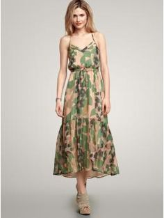 gap camo ruffle maxi dress