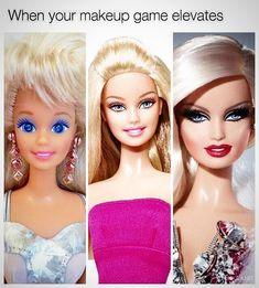 Accurate Representation of My Make Up over the Years  . . . #wakeupandmakeup #Barbie #GlowUp #beauty #cosmetics #makeupartist #tashastylesbeauty #instabeauty #follow #beautyroom #northwales #meme #beautymemes #muamemes