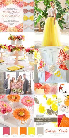 Wedding Paper Divas summer wedding theme board pink peach orange yellow grey