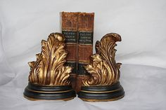 Acanthus Leaf Bookends - Gold Decor - Hollywood Regency Decor - Library Decor…