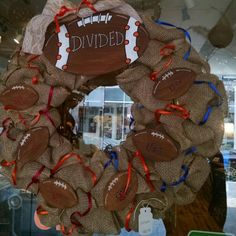 VT & UVA Football Divided burlap wreath. $44.99 #cherisheverymoment #upcycling #homedecor #football
