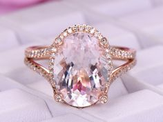 Elongated Oval MorganitemRing Diamond Split Shank 18K Rose Gold Invisible Gallery10x14mm - 3.25 / 18K Yellow Gold