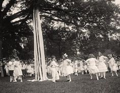 Maypole Dance (1948) My mother had a birthday party for me on May 1st. Ribbon streamers hanging from top of pole, grabbed onto by kids that 'danced around the pole,singing children's songs. ..... May ist is considered 'May Day' and celebrated with home made paper baskets, filled with flowers and candies .. given to favorite friends and relatives.........