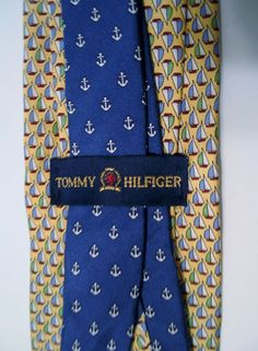 Designer Tommy Hilfiger Silk Tie Gold & Blue Sailboats PREPPY NAUTICAL Made USA #TommyHilfiger #Tie